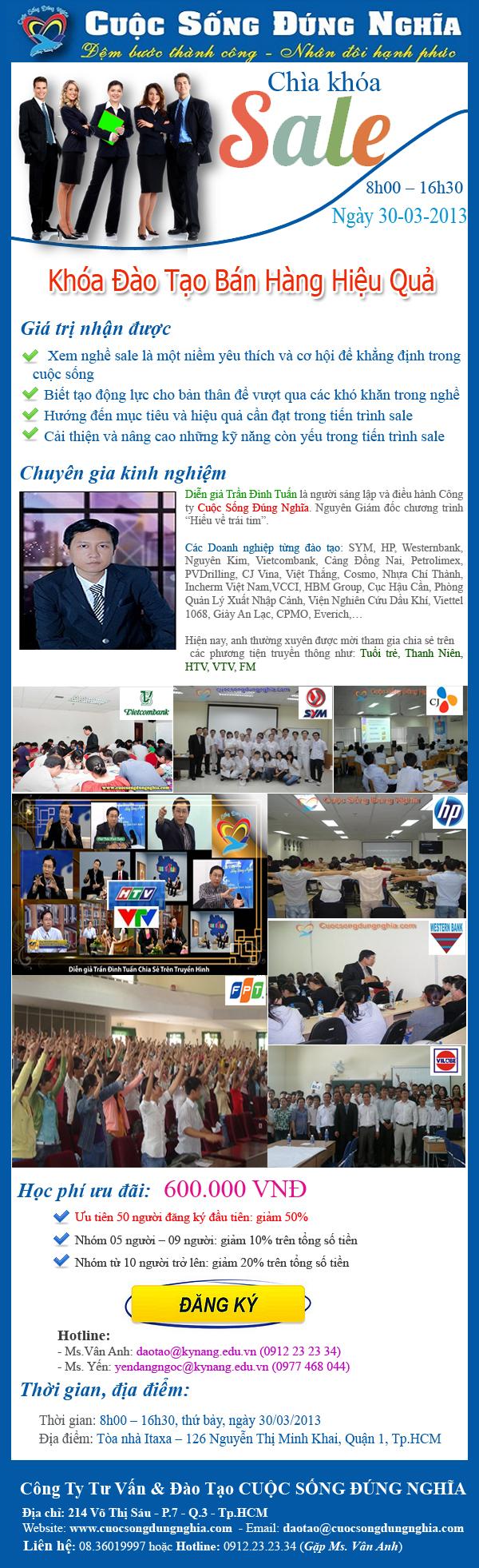 daotao ban hang hieu qua Chương trình đào tạo bán hàng hiệu quả ngày 30 03 2013