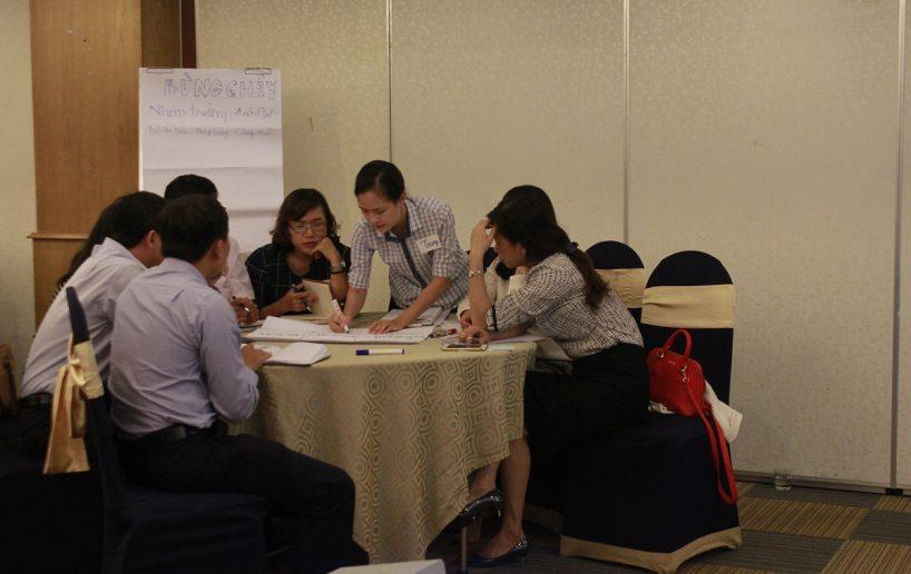 hinh anh bidv lam viec nhom 4 818x516 Đào tạo cho BIDV Hồ Chí Minh: Kỹ năng truyền lửa và tạo động lực cho nhân viên