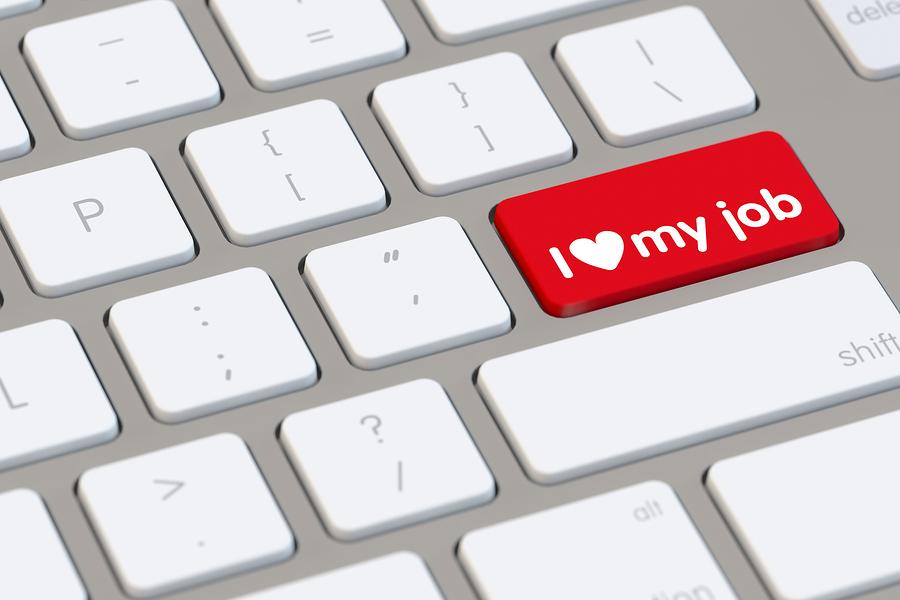 bigstock I love my job slogan on comput 90893996 Đặt Tình Yêu Trong Công Việc